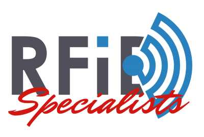 "Logo that says RFID ""Specialists"" translucent background with dark brown and red writing"