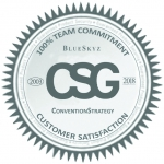 Round seal saying CSG (Convention Strategy Group) is 100% committed to Customer Satisfaction.